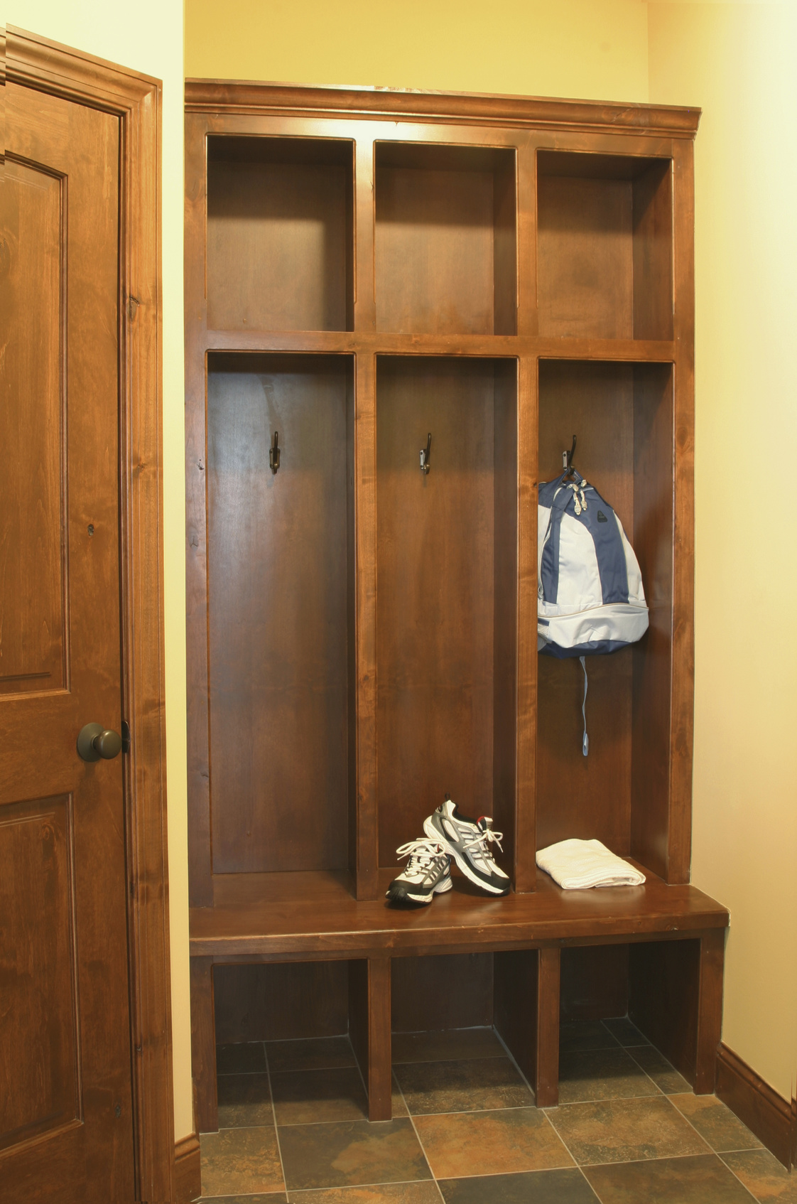 Estate home interior mud room lockers